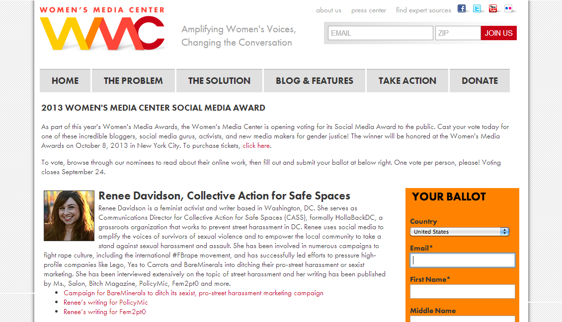 Renee Davidson, Collective Action for Safe Spaces, nominated for 2013 Women's Media Center Award