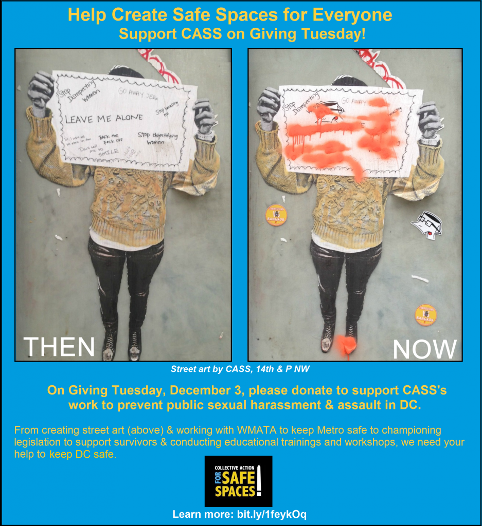 Help Keep DC Safe: Support CASS's anti-street harassment work on Giving Tuesday!